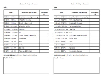 Student Behavior Plan Half Page
