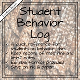 School Counseling - Student Behavior Plan Log - Editable!