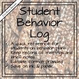 Student Behavior Plan Log