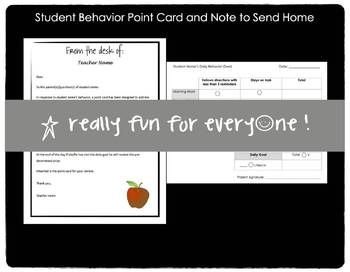 Student Behavior Point Card and Note to Send Home