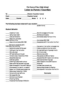Student Behavior Record-Letter to Parent/ Guardian