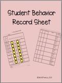 Student Behavior Record Sheet