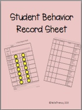 Student Behavior Record Sheet