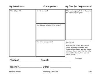 Student Behavior Record and Reflection