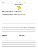 Student Behavior Reflection Form
