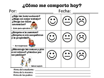 Student Behavior Reflection Form/Plan de Comportamiento