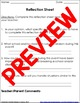 Student Behavior Reflection Sheet