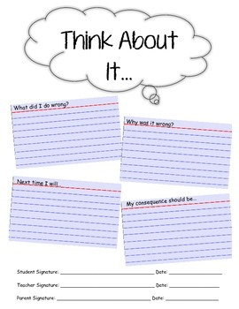 Student Behavior Reflection Sheet - Think About It