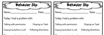 Student  Behavior Reflection Slip