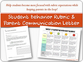 Back to the Good Behavior Rubric and Parent Communication Letter