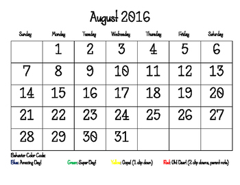 Student Behavior Self Tracking Calendars (2016-2017 School Year)