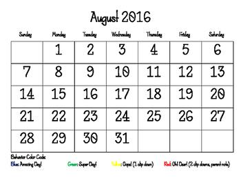 Student Behavior Self Tracking Calendars (2016-2017 School Year)