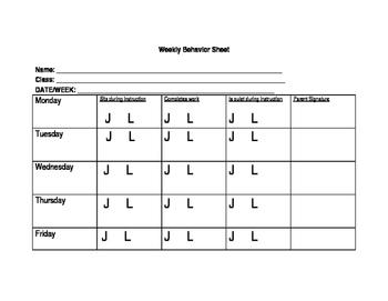 Student Behavior Sheet