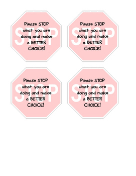 Student Behavior Stop Signs