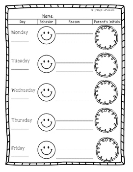 Student Self-Reflection Sheet & Clip Chart