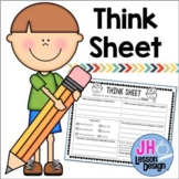 Student Behavior - Think Sheet: Distance Learning Compatible