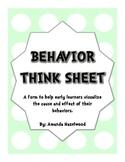 Student Behavior Think Sheet