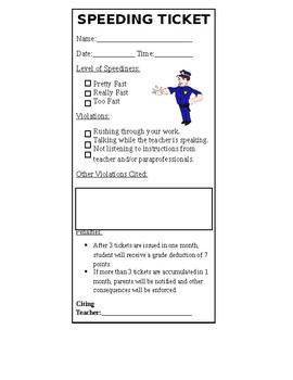 Student Behavior Ticket