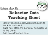 Behavior Data Tracking Sheet