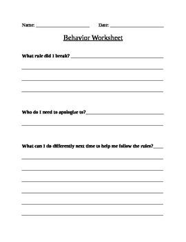 Student Behavior Worksheet