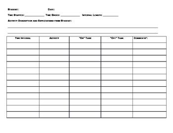 Student Behavior data collection form