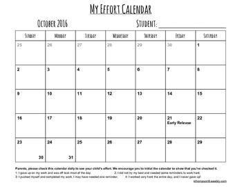 Student Behavior or Effort Calendar 2016-17