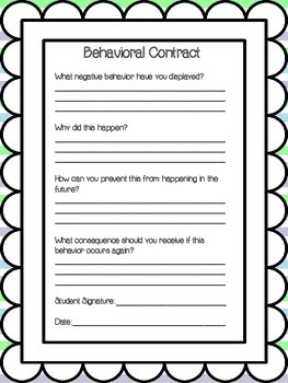 Student Behavioral Reflections and Forms