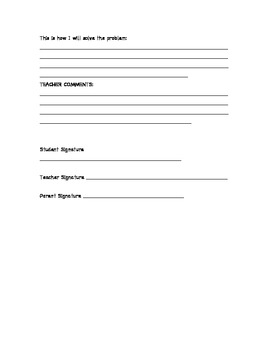 Student Behaviour Form