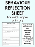 Student Behaviour Reflection Sheet - Mid to Upper Year Levels
