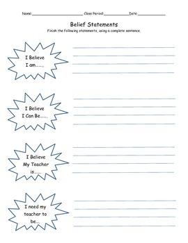 Student Belief Statements