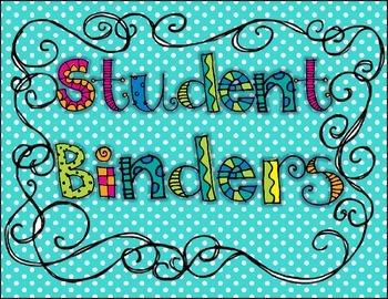 {Student} Binder Bin Storage Cover/Label
