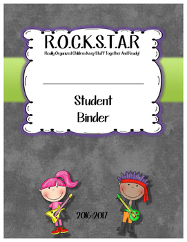 Student Binder Cover Rockstar Themed
