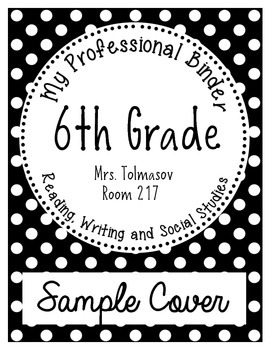 Binder Cover Sheet, Student Binder {Black and White Polka Dots}