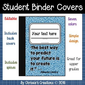 Student Binder Covers in composition theme 7 colors (Editable in PowerPoint)