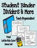 Student Binder Dividers & More