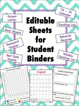 Student Binder Editable Sheets