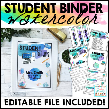 Student Binder Editable Watercolor