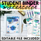Student Binder Editable Watercolor