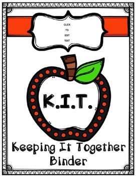 "Student Binder ""K.I.T.""  Editable & Printer Friendly"