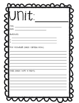 Student Binder Pages and Unit Reflection