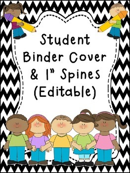 Student Binder & Spines ~ Chevron Black/White Print ~ Editable