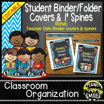 Student Binder & Spines (Editable) Aqua and Chalkboard Theme
