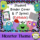 Student Binder & Spines (Editable) Monster Theme