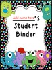 Student Binder & Spines (Editable) Monster Theme