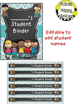 Student Binder & Spines (Editable) Teal and Chalkboard Theme