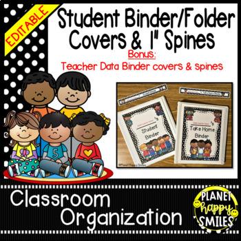 Student Binder & Spines ~ Polka Dot Black/White Print ~ Editable