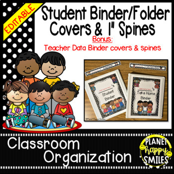 Student Binder & Spines ~ Polka Dot Black/White Print ~ Editable