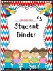 Student Binder & Spines ~ Red, White & Blue Chevron ~ Editable