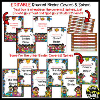Student Binder and Folder Covers & Spines ~ Super Hero Theme ~ Editable
