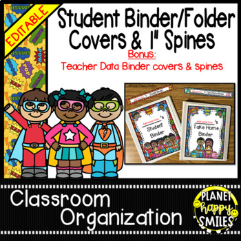 Student Binder and Folder Covers & Spines ~ Super Hero The